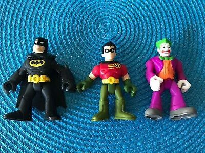 2PCS Fisher Price Imaginext DC Super Friends Batman /& Robin Comic Figure Boy Toy