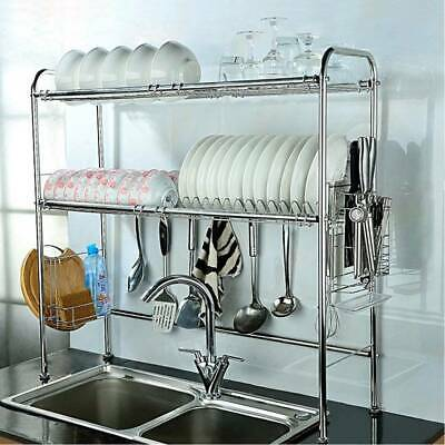 Dish Drainer Rack Storage Drip Tray Sink Drying Wired Draining Plate Bowl UK