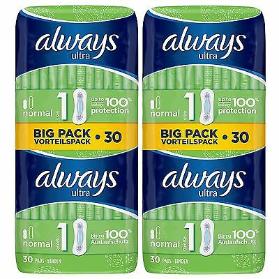 Always Ultra Normal Sanitary Towels Pads Size 1 Women Super Absorbent Pack of 60