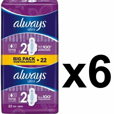 Always Ultra Long Sanitary Towels Pads Size 2 Wings Womens Absorbent - 132 Pack