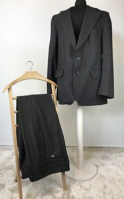 """CHRISTIAN DIOR Mens Tailor Made Grey & Blue Striped Vintage Suit 44"""" Chest W32"""""""