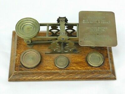 Antique English Brass & Oak Mordan & Co London Postal Scale with Weights