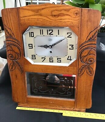 Jura French 1930's Wall Clock Art Deco Style Face Rose Carving Silvered Glass