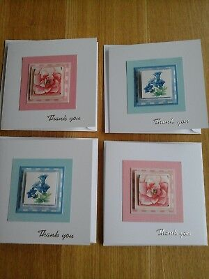 Thank You Notelets -  handmade,  notelets, Thank You cards, floral,  rose,