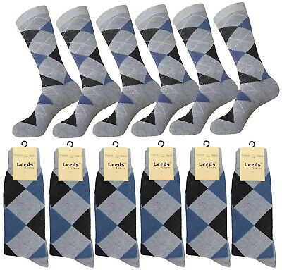 1-3-6- 12 Pk Argyle Diamond BLUE GRAY Dress Socks Groomsmen Cotton Socks 10-13