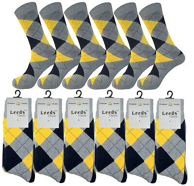 1-3-6- 12 Pk Argyle Diamond YELLOW GRAY Dress Socks Groomsmen Cotton Socks 10-13