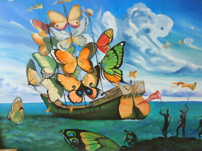 Salvador Dali Ship With Butterfly Sails - Canvas or Print Wall Art