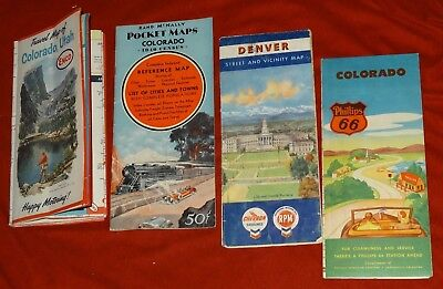Lot of 4 Oil Gas Station Road Maps Vintage US State Colorado 1940 census 1960/63
