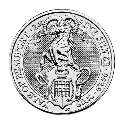 2 oz 2019 Royal Mint Queen's Beasts   Yale of Beaufort Silver Coin