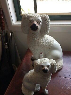 Rare Antique Staffordshire confetti Poodles 1x Large, 1x Small, Repaired