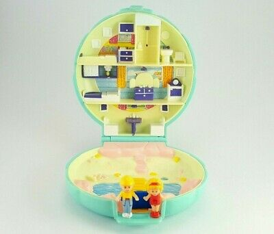 *Complete* POLLY POCKET 1989 Beach House VARIATION Vintage Bluebird Green Case