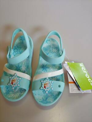 266d15944114 New With Tags Children s Girl s Crocs Ice Blue Lina Frozen Sandal K Size C5   EX