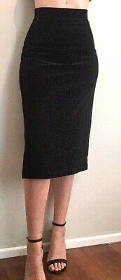 Vintage high waist fitted pencil skirt in brush cotton black fabric FitSize 8-10