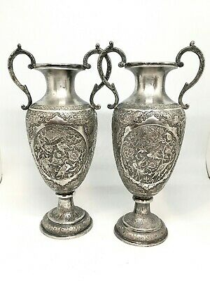 Pair of Early 20th Century Highly Repousse Persian Silver Handled Vases