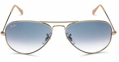 21eac78a68 Ray-Ban Aviator Sunglasses RB3025 001 3F Light Blue Gradient Gold Frame 58