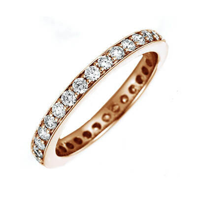 Women's Ring Memory Ring Made from 585 Rose Gold with 33 Diamonds 1,05 Ct Tw-Si