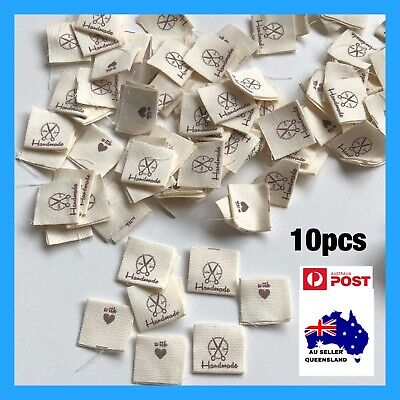 WOVEN LABELS 10pcs, Cloth Hem Tag, Handmade With Love, Clothing Label, Scissors