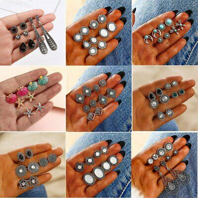 12Pairs/Set Women Vintage Turquoise Earrings Jewelry Ear Stud Boho Jewellery NEW