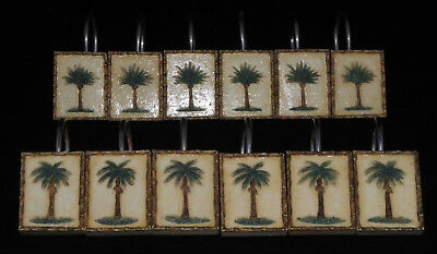 Palm Tree Shower Curtain Hooks Set Of 12 Two Designs Resin