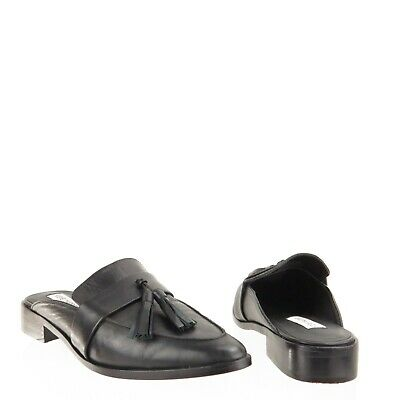 4bbf408f963 Women s Steve Madden Magan Black Leather Tassel Slip On Mule Shoes Size 7.5  M