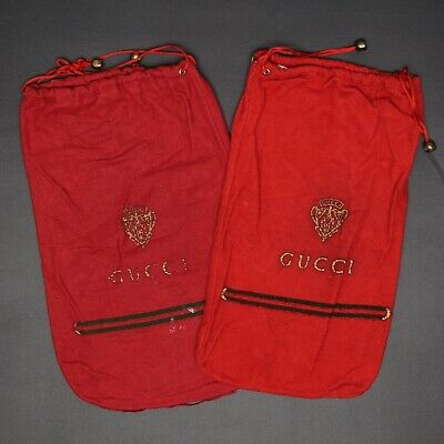 VTG Gucci Red Shoe Bags Dust Covers Storage Flannel Missmatch Italy Drawstring