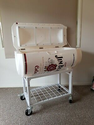 Jim Beam Can shaped cooler on stand w lockable wheels Esky Ice box Collectable