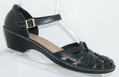 2aa4f71d6d242d Clarks  Wendy Land  black leather round toe ankle strap sandal heels ...