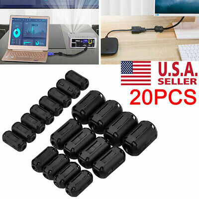 20 Clip-on Ferrite Ring Cable Clips Core RFI EMI Noise Suppressor Filter Beads