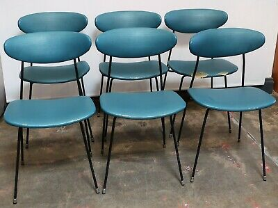Set Of 6 Retro Mid Century Metal Framed Chairs