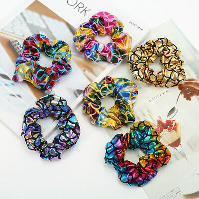 Mermaid Pattern Elastic Hair Ties Girls Shiny Hair Scrunchies Ponytail Holder
