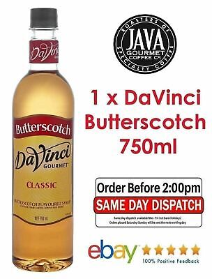 DaVinci Butterscotch Syrup 750ml Cocktail Barista Cafe Frappe Milkshake Desserts