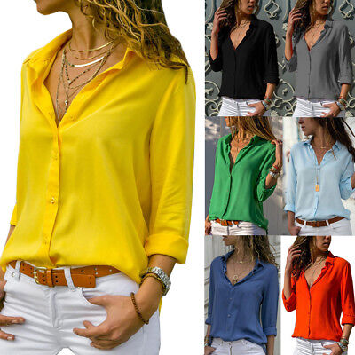 Women's  Blouse Work Shirts OL Casual Deep V  Neck Long Sleeve Tops Plus Size