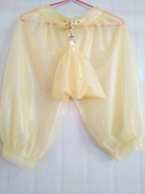 Latex Rubber Knee-length Pant Transparent Short with Urine Gag Size S-XXL