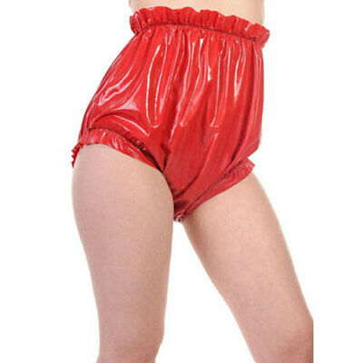 Gummi Latex Rubber Red Women Sexy High Waist Triangle Elastic Shorts Size S-XXL