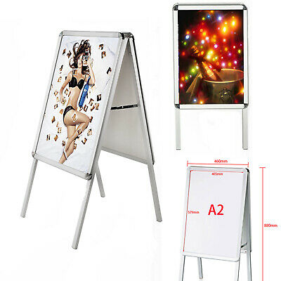 A2 Board Pavement Sign Snap Frame Double Side Aluminium Poster Display Stand UK