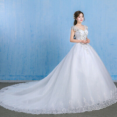Stock Ivory Wedding Dress Bridal Gown Princess Full Length Beading Plus Size