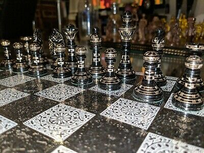 Chess set | metal plated | metal chess pieces.