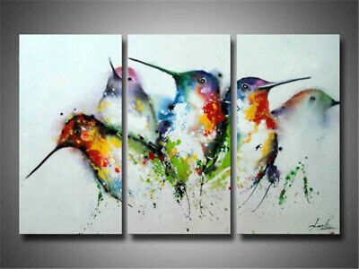 3PC Modern Abstract Home Decor Canvas Art Hand Painted Color Bird Oil Painting