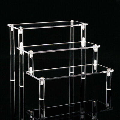 Acrylic Riser Display Shelf 3-Tier Display Stand Removable Rack for Figures Toys