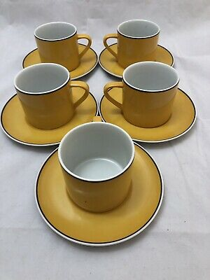 Vintage Set of 5 KELCO Yellow Coffee Cups & Saucers. Excellent Condition