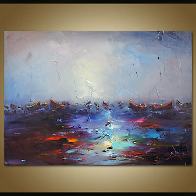 Hand Painted Oil Painting Abstract Seascape Sailboat Home Decor Art Wall Canvas