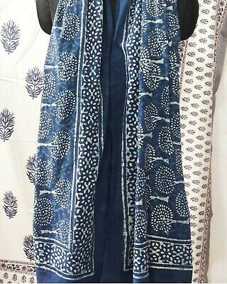 Indian Cotton Fabric Blue Scarf Block Print Tree Printed Sarong Pareo Neck Stole