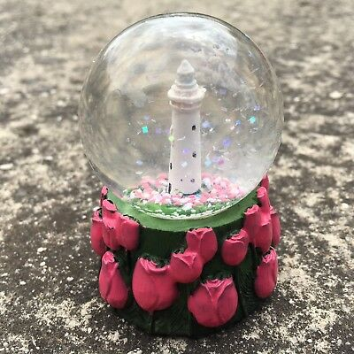 "WYNYARD TULIPS ""Pink"" Gorgeous Lighthouse Decorative Mini Snowglobe Ornament"