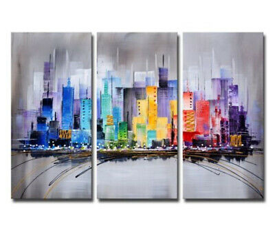 3P Modern Hand Painted City Scenery Oil Painting Abstract Home Decor Canvas Art
