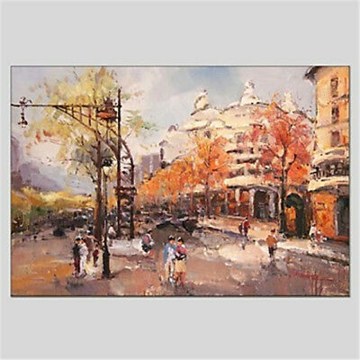 Modern Abstract Hand Painted City Scenery Oil Painting Home Decor Art On Canvas