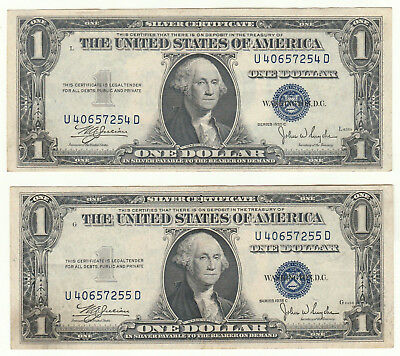 Consecutive Pair of 1935-C $1 Silver Certificates--Ungraded, Ships Free