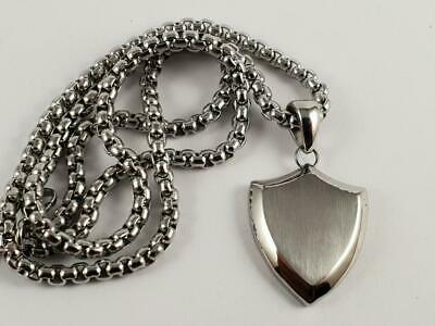 Stainless Steel Blank Shield pendant and necklace 60cm chain arms trophy plaque