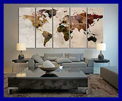 LARGE CANVAS PRINT Rustic World Map LARGE Wall Art Extra ...