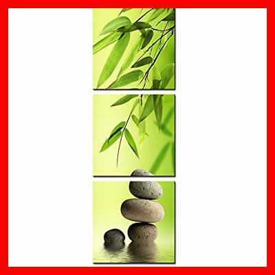 Framed Canvas Print Painting Bamboo & Stone Vertical Forms Wall Art Picture For