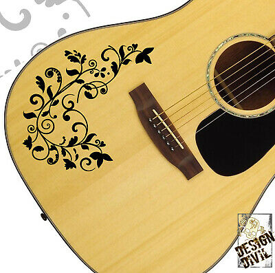Pro Acoustic Vine Swirl Guitar Decal Sticker Fits All Guitars 24 Colour Options